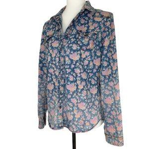 American Rag Floral Boho Jean Shirt Size Small